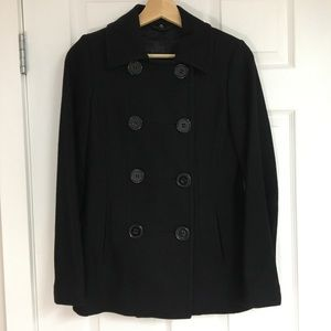 Le Chateau black wool blend peacoat, size XXS.